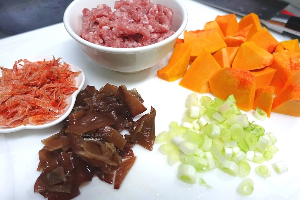 南瓜,南瓜炊飯,櫻花蝦,炊飯,燉飯,燜飯,米飯,肉絲,電鍋料理