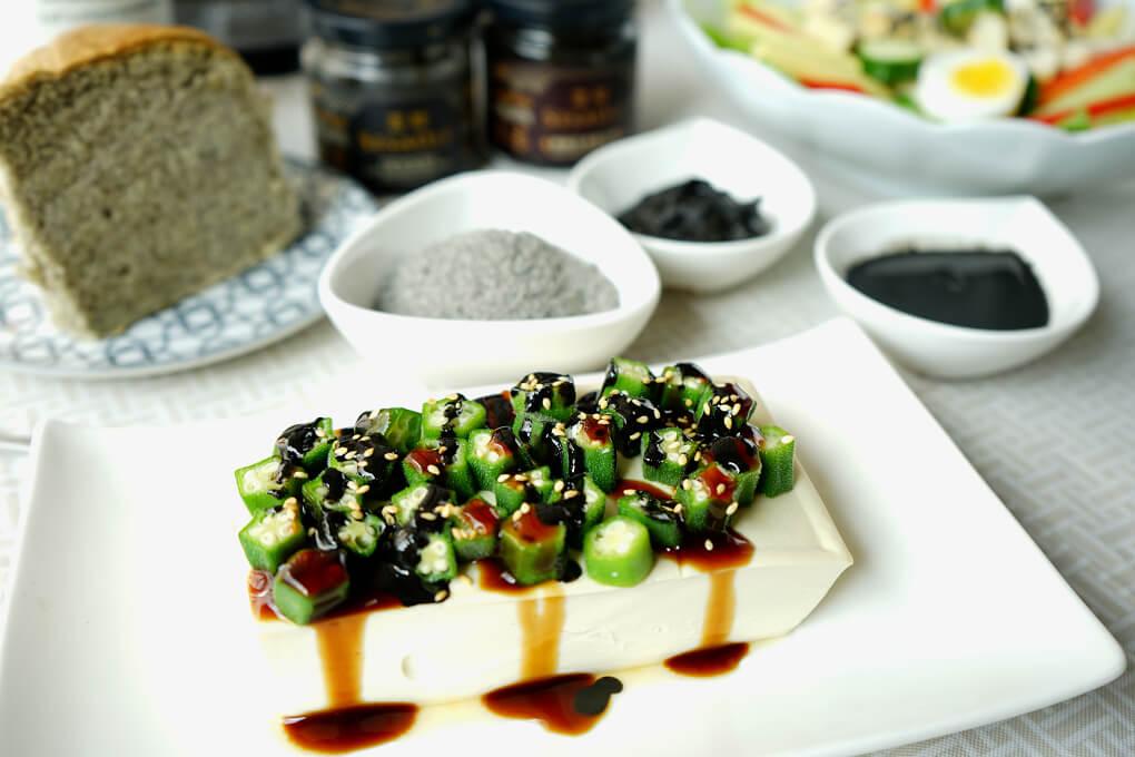 芝麻醬拌秋葵豆腐-高鈣、植物蛋白