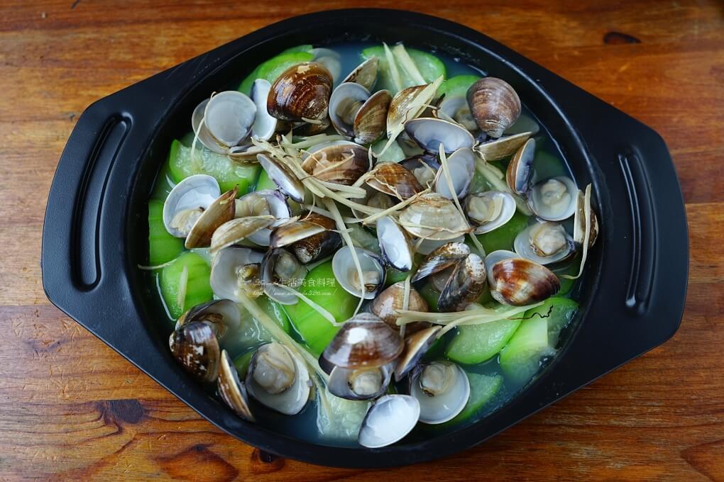 海鮮,烤箱,烤絲瓜,烤絲瓜蛤蜊,絲瓜,絲瓜 烤箱,蔬菜,蛤蜊