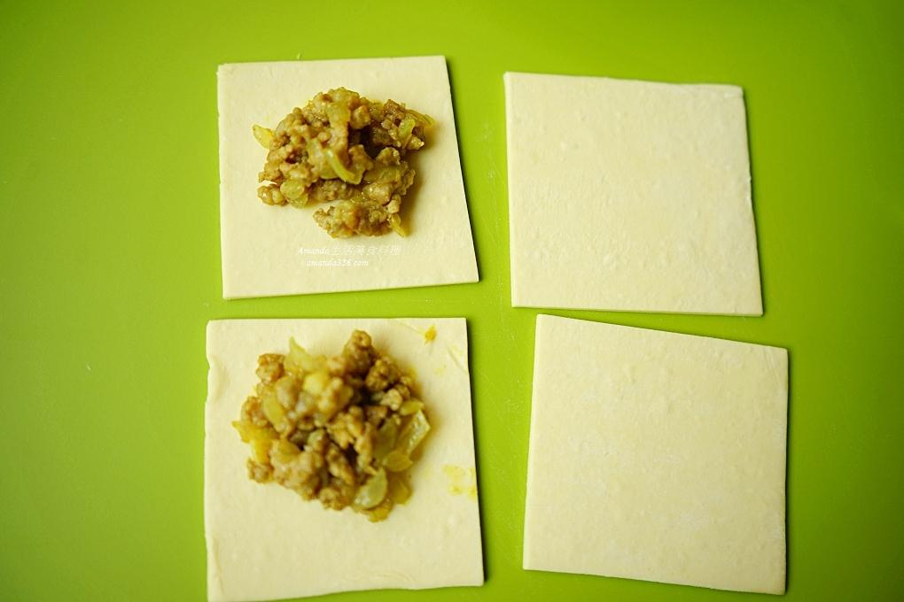 可頌,咖哩可頌,咖哩洋蔥,咖哩肉餡,咖哩酥,咖哩餃,小可頌,氣炸料理,氣炸烘焙,氣炸點心,烘焙,烘焙材料,起酥片,迷你可頌,酥皮可頌