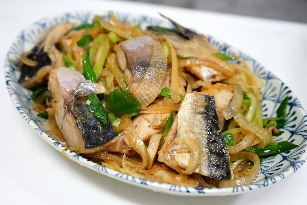 蒜苗炒薄鹽鯖魚