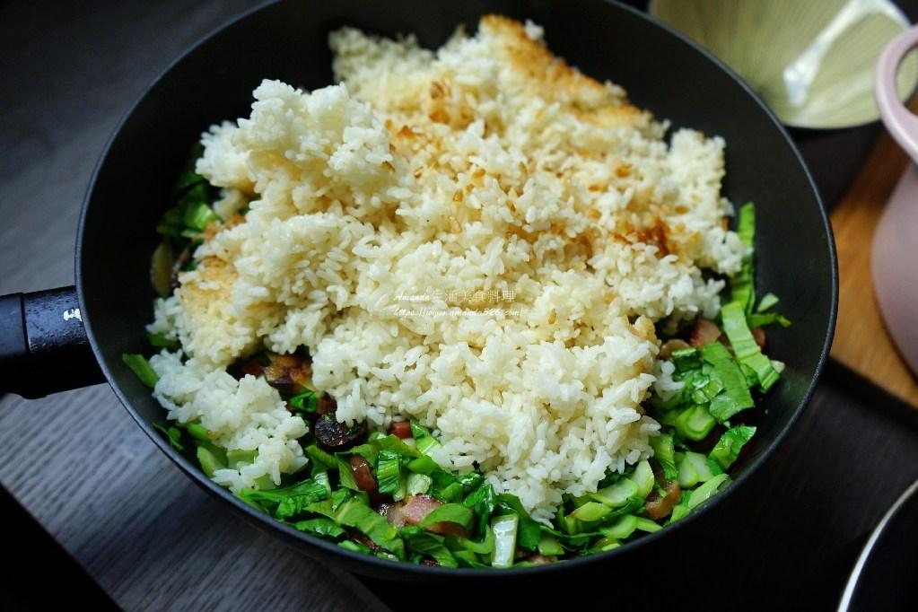 一鍋煮,上海菜飯,上海菜飯改良,臘味菜飯,臘味青江菜飯,臘味飯,菜飯,青江菜飯